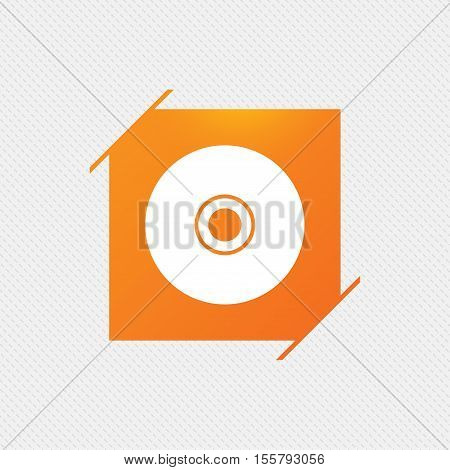 CD or DVD sign icon. Compact disc symbol. Orange square label on pattern. Vector