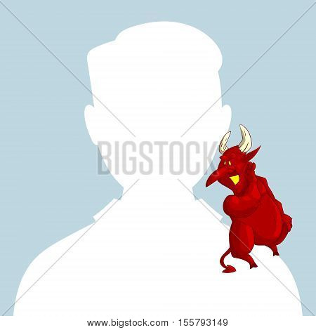 Blank male avatar or profile picture with devil conscience character on his shoulder advising him.
