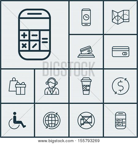 Set Of Airport Icons On Takeaway Coffee, Call Duration And Road Map Topics. Editable Vector Illustra