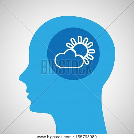 symbol weather icon. silhouette head and cloud sun vector illustration eps 10