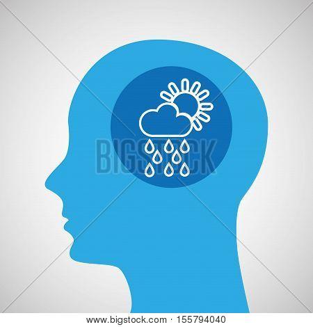 symbol weather icon. silhouette head and cloud rain sun vector illustration eps 10