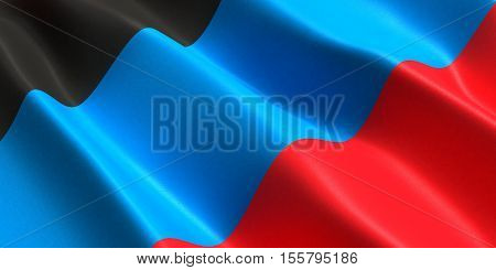 the flag of the Donetsk People's Republic flutters in the wind 3D