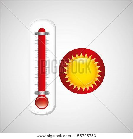 red thermometer icon sunny weather meteorology vector illustration eps 10
