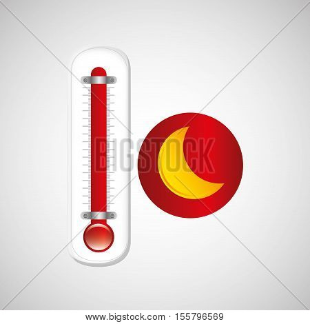 red thermometer icon moon weather meteorology vector illustration eps 10