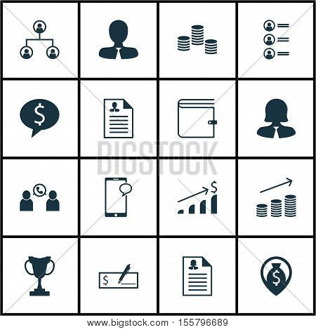 Set Of Hr Icons On Business Woman, Business Deal And Wallet Topics. Editable Vector Illustration. In