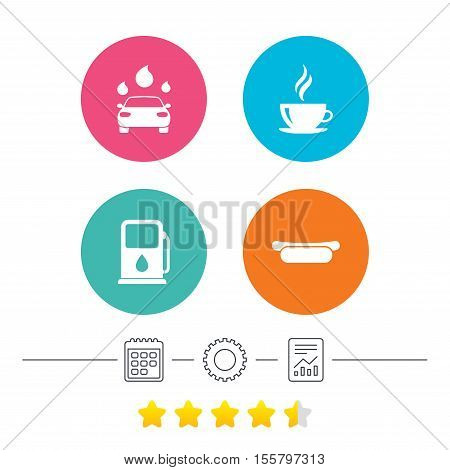 Petrol or Gas station services icons. Automated car wash signs. Hotdog sandwich and hot coffee cup symbols. Calendar, cogwheel and report linear icons. Star vote ranking. Vector