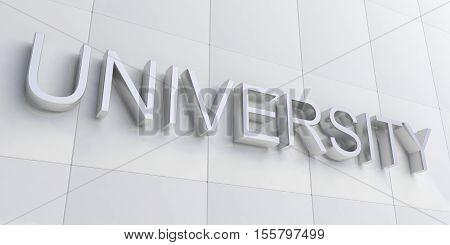 3D Rendering University Sign On White Facade