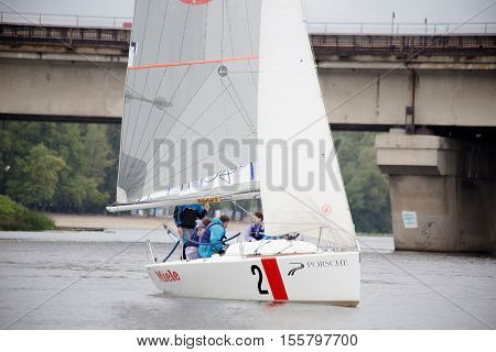 Kyiv, Ukraine - August 12, 2016:Sailing school in Kiyv, Ukraine - August 2016 - Young people learning to sail in the harbor at Dniper river Ukraine before International Regatta Hetman Cup ISAF Grade 2 run in Ukraine