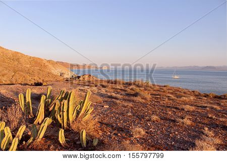 Before the sunset at Isla San Marcos, Sea of Cortez, Mexico. Boat at anchor.