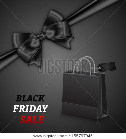 Illustration Shopping Paper Bag for Black Friday Sales and Bow on Black Background - Vector