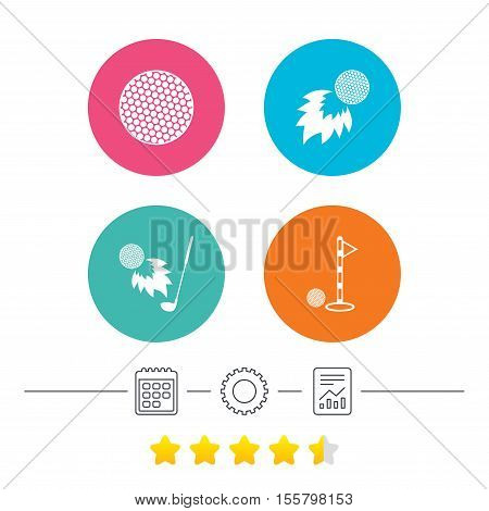 Golf ball icons. Fireball with club sign. Luxury sport symbol. Calendar, cogwheel and report linear icons. Star vote ranking. Vector