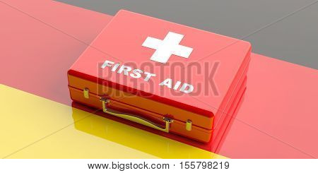 3D Rendering First Aid Kit On Germany Flag Background