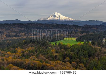 Mount Hood over Barlow Trail Route from Jonsrud Viewpoint in Sandy Oregon