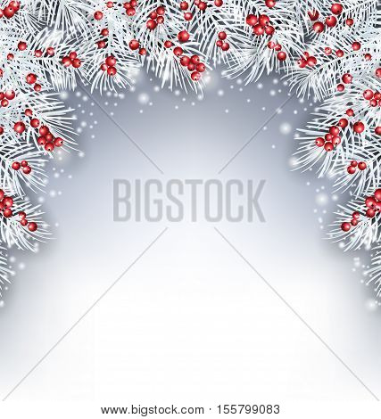 Illustration Holiday Background with Silver Fir Twigs and Holly Berries, Copy Space for Your Text - Vector