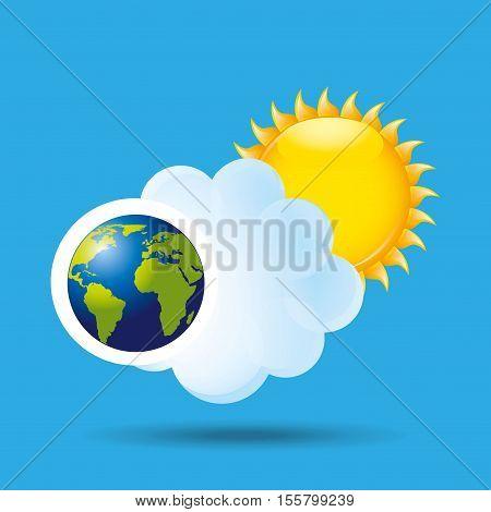globe earth weather meteorology cloud ans sun vector illustration eps 10
