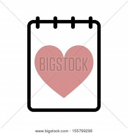 notepad with heart cartoon icon image vector illustration design