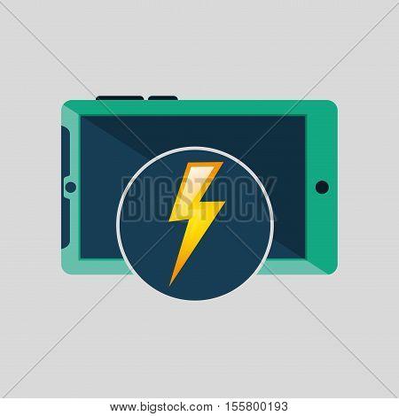 green smartphone, weather lightning icon design vector illustration eps 10