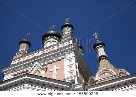 photographed close-up of the Pokrovsky Cathedral, located in Grodno, Belarus, Cathedral in honor of the Holy Virgin