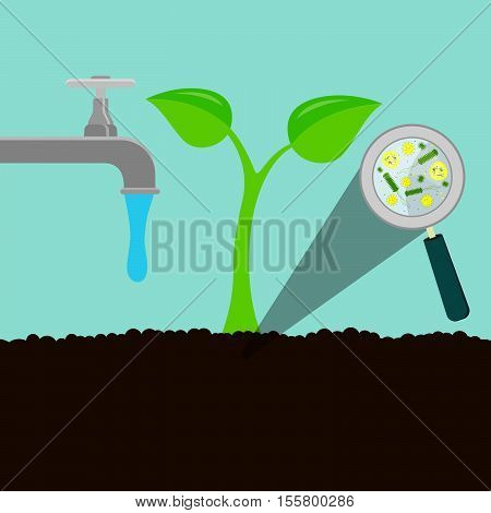 Water running from the tap and watering the soil. Plant rising from the earth. Microorganisms virus and bacteria in the earth enlarged by a magnifying glass.