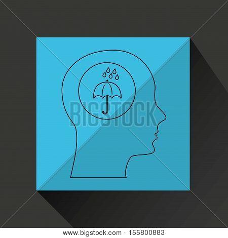 symbol weather icon. silhouette head and umbrella rain vector illustration eps 10