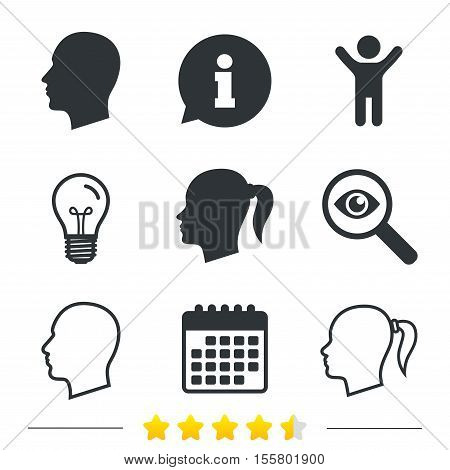 Head icons. Male and female human symbols. Woman with pigtail signs. Information, light bulb and calendar icons. Investigate magnifier. Vector