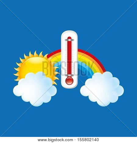 red thermometer icon rainbow weather meteorology vector illustration eps 10