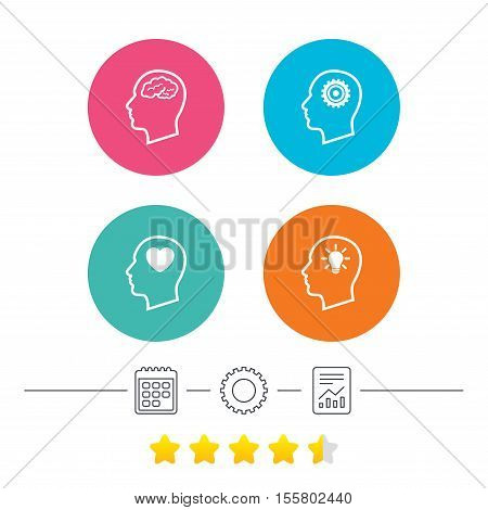 Head with brain and idea lamp bulb icons. Male human think symbols. Cogwheel gears signs. Love heart. Calendar, cogwheel and report linear icons. Star vote ranking. Vector