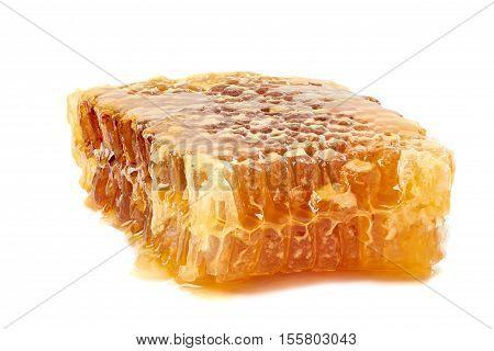 Fresh honey in honeycombs isolated on white background