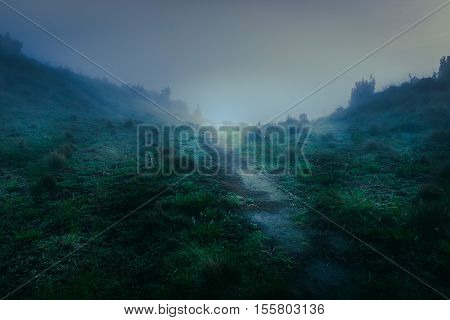 Empty Road On Natural Merbabu Mountain On Blue Tungsten Blue Color Weather