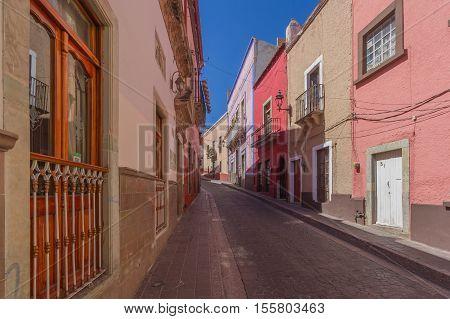 Colorful Houses Narrow Street of Guanajuato Mexico