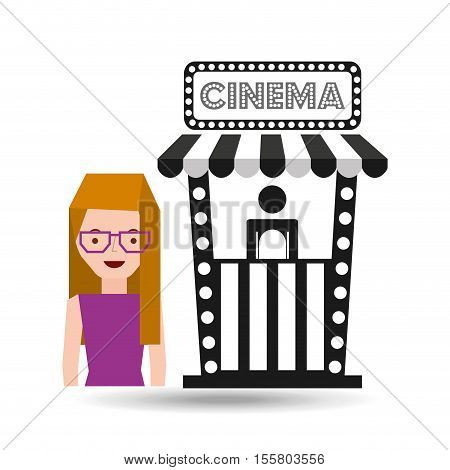girl cartoon and ticket office icon cinema graphic vector illustraion eps 10
