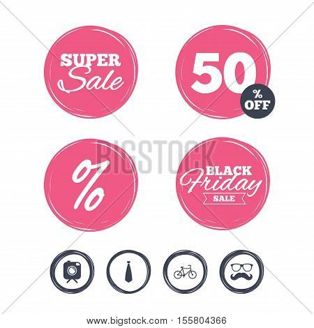 Super sale and black friday stickers. Hipster photo camera with mustache icon. Glasses and tie symbols. Bicycle family vehicle sign. Shopping labels. Vector
