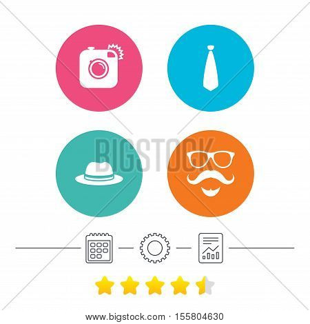 Hipster photo camera. Mustache with beard icon. Glasses and tie symbols. Classic hat headdress sign. Calendar, cogwheel and report linear icons. Star vote ranking. Vector