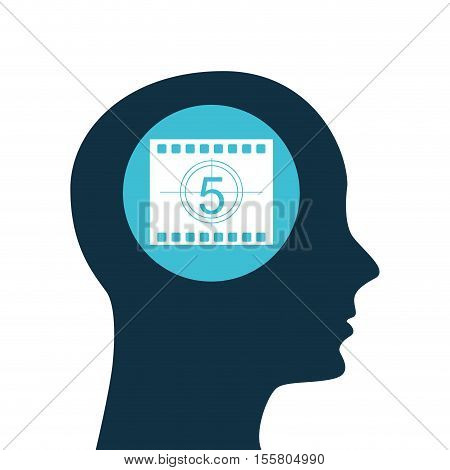 silhouette head. concept cinema counting strip vector illustration eps 10