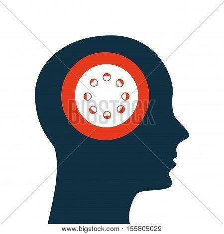 silhouette head. concept cinema film reel ector illustration eps 10