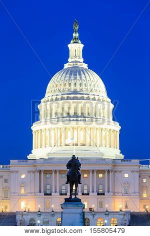 US Capitol Building at dusk Washington DC USA