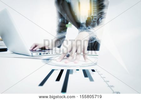 Double Exposure Of Business Woman Prepare Documents And Check Data Of Work,business People Working I
