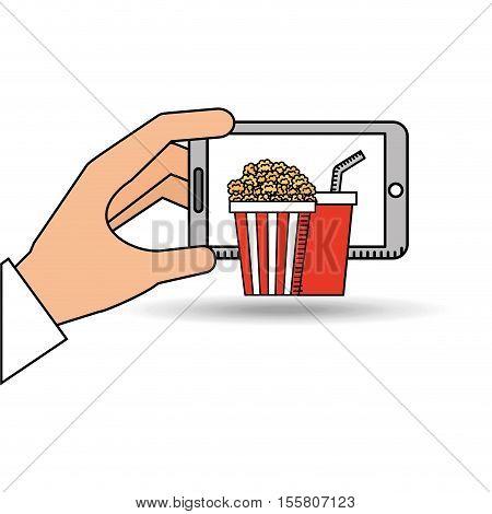 smartphone cinema food fast design vector illustration eps 10