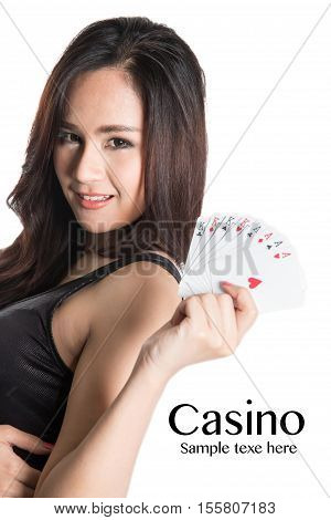 Casino concept- Pretty woman show a card.