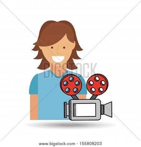 cheerful girl conecpt cinema camera icon design vector illustraion eps 10