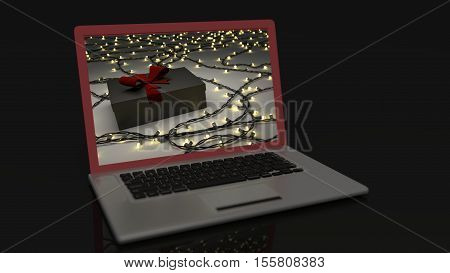 Laptop with Christmas background on screen saver 3d render