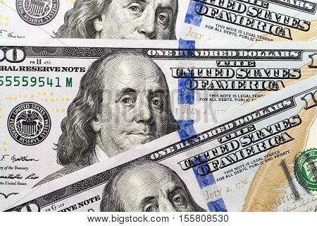 photographed close-up of American paper money worth one hundred dollars, the new American bil