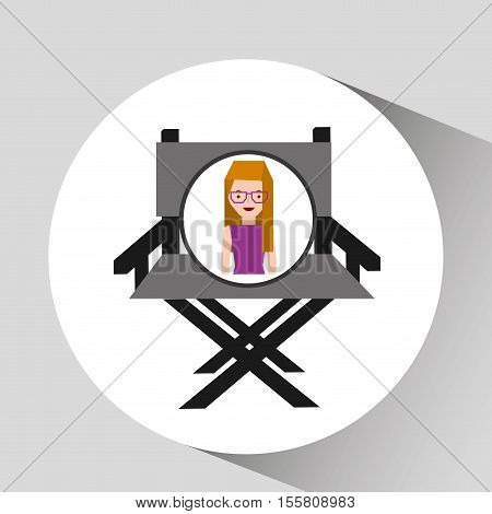 girl cartoon and chair speaker icon cinema graphic vector illustraion eps 10
