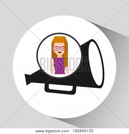 girl cartoon and megaphone icon cinema graphic vector illustraion eps 10