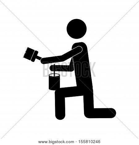 person painting icon image vector illustration design  design