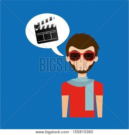 man hipster concept movie cinema clapper icon vector illustration eps 10