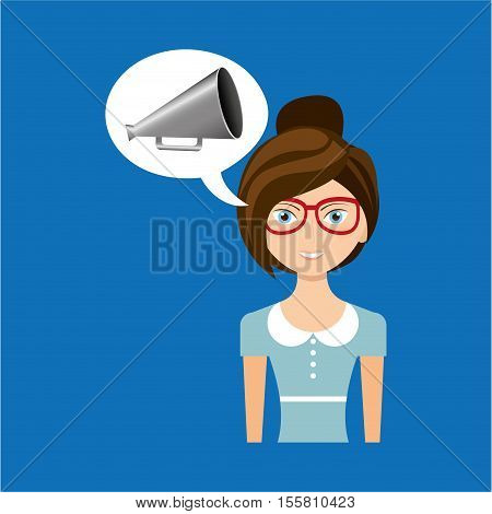 beautiful girl concept cinema movie speaker icon vector illustration eps 10
