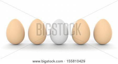 3D Rendering Eggs On White Background