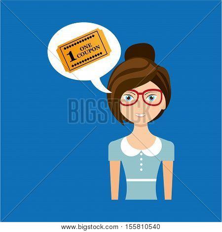 beautiful girl concept cinema movie ticket icon vector illustration eps 10