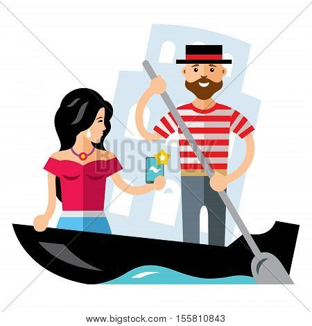 Gondolier and the selfie girl in the boat. Isolated on a white background